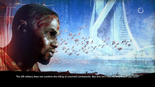 Loading screen from 'Spec Ops: The Line'. A line of text reads: 'The US military does not condone the killing of unarmed combatants. But this isn't real, so why should you care?'